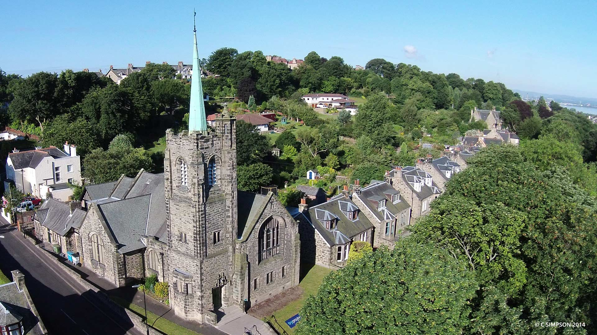 Aerial view of St Andrew's Church